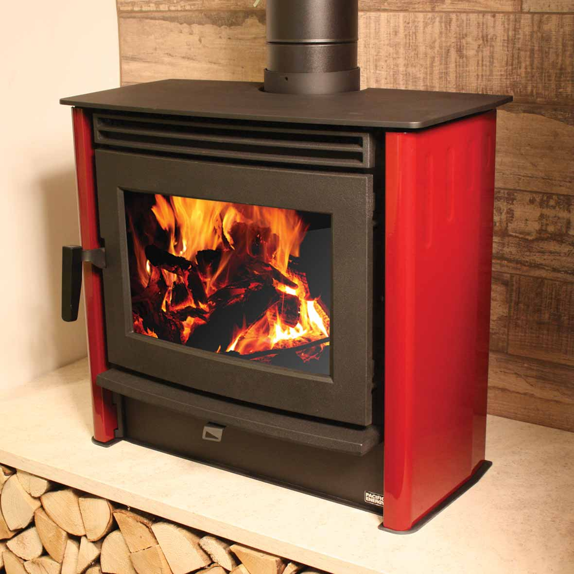 Red Wood Burning Stove 5kw Waxman Tile Showroom