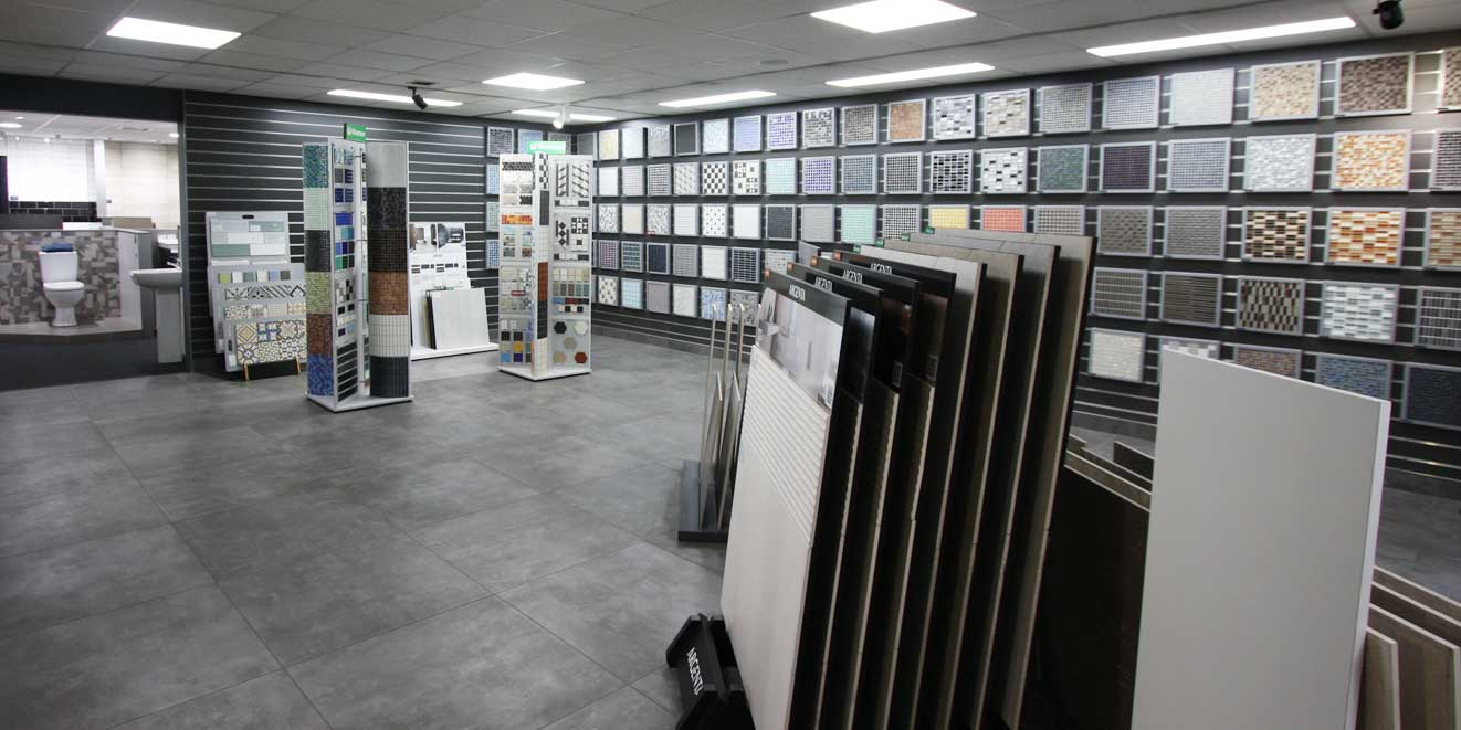 Waxman Tile Showroom looking down towards bays