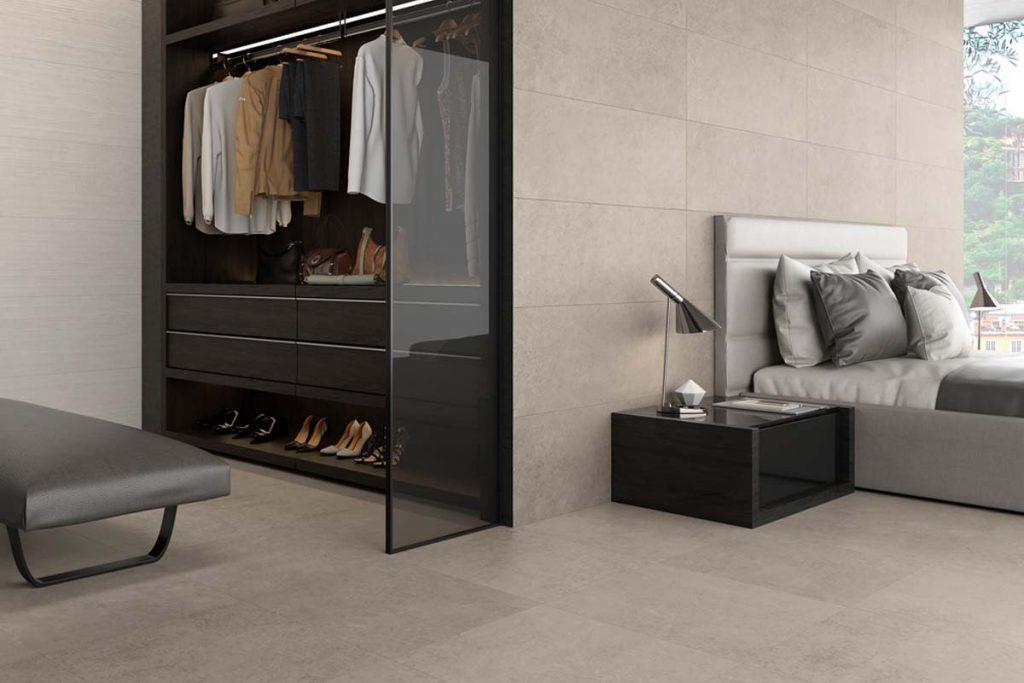 Bedroom cream tiles.