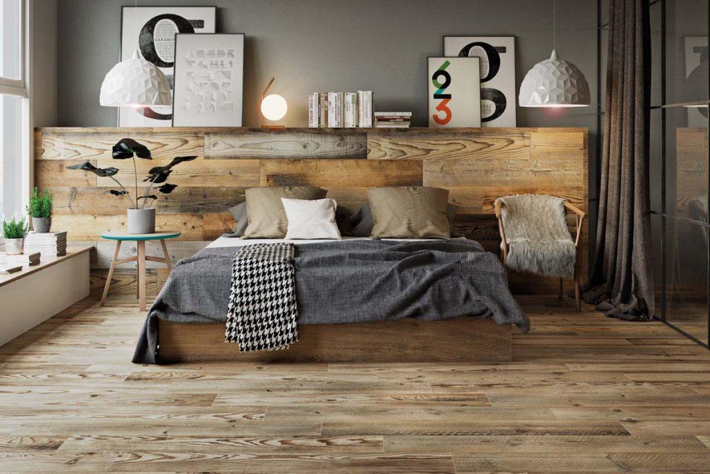Bedroom wood effect tiles.