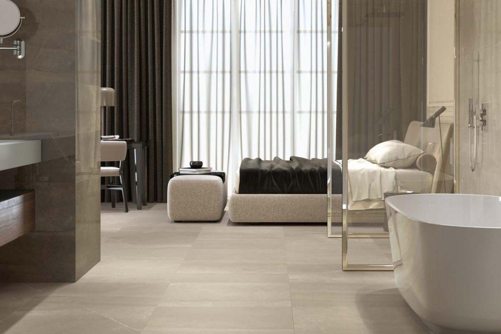 Bedroom marble effect tiles.
