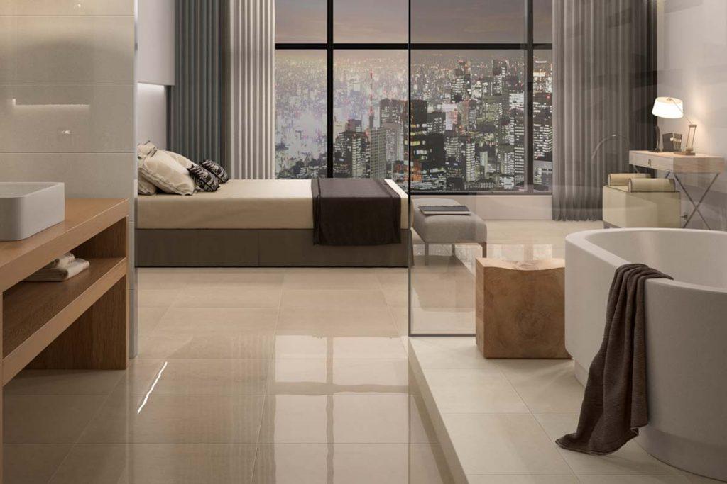 Bedroom glossy stone effect floor tiles.
