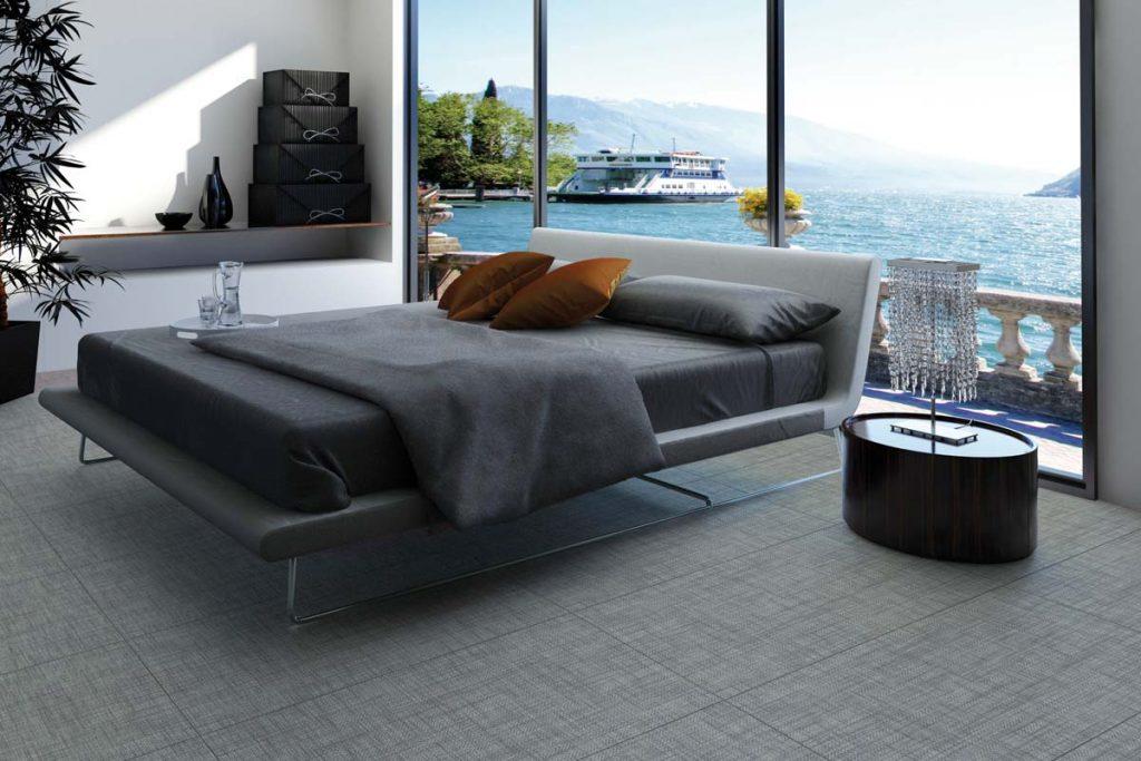 Bedroom fabric effect tiles.