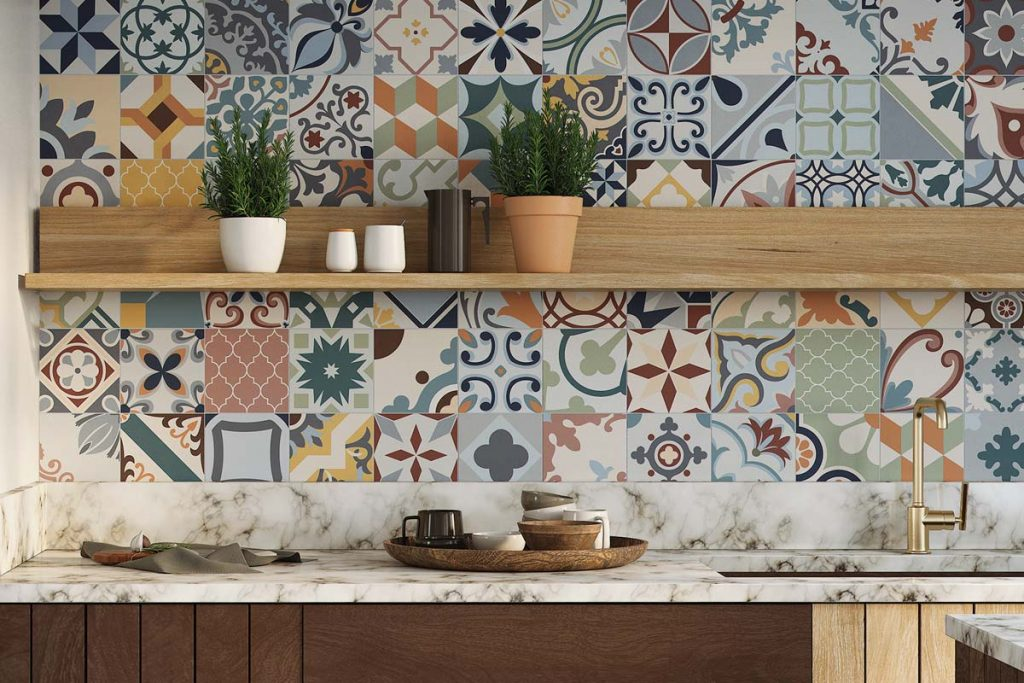 Kitchen colourful taco wall tiles.