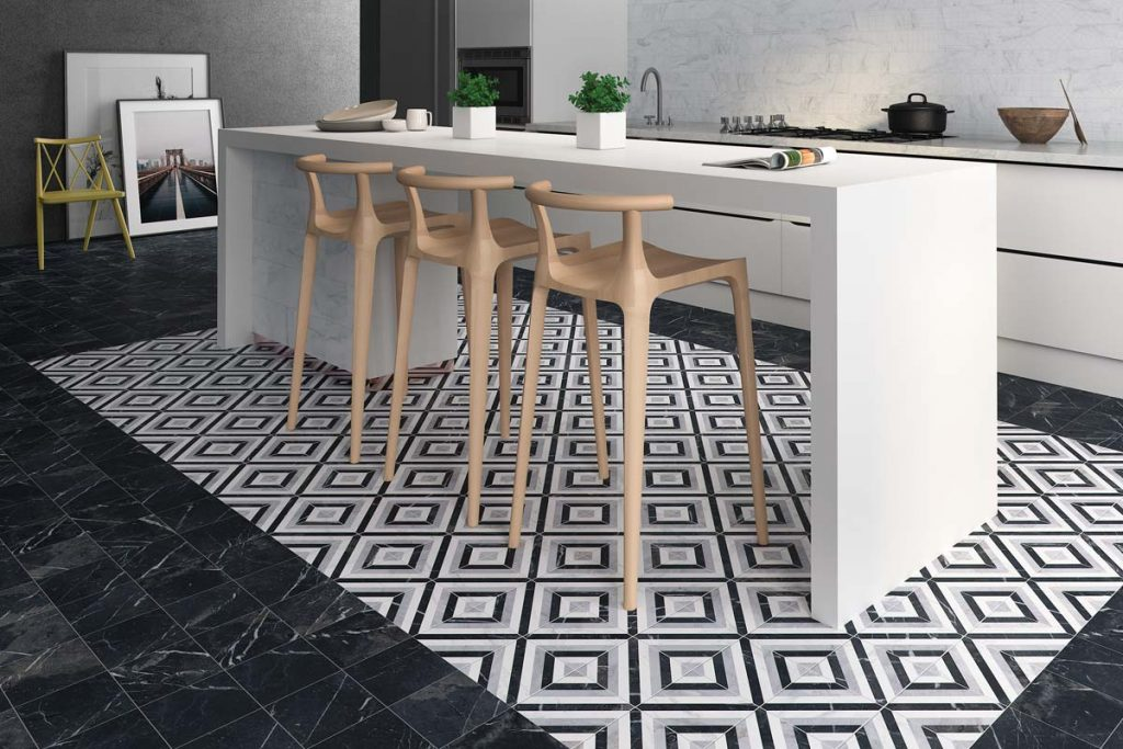 Kitchen black and white patterned floor tiles.