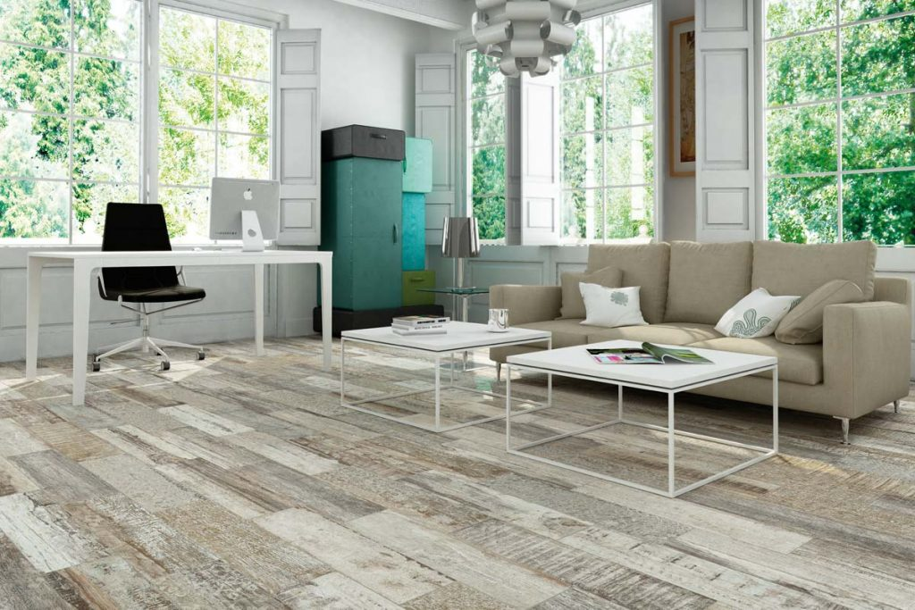Living room wood effect tiles.