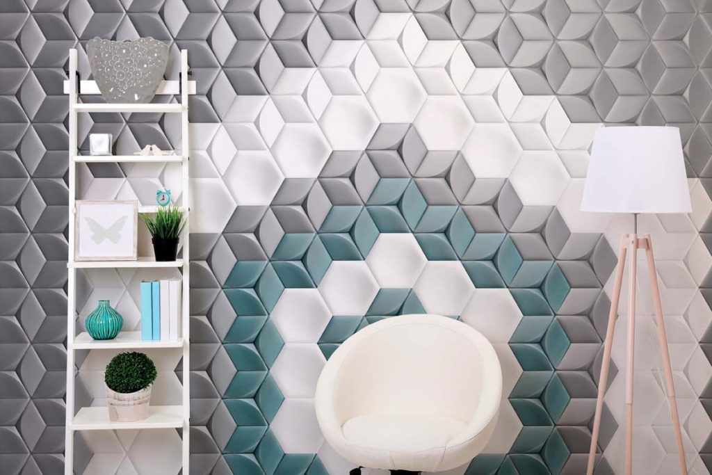 Living room modern hexagonal wall tiles.