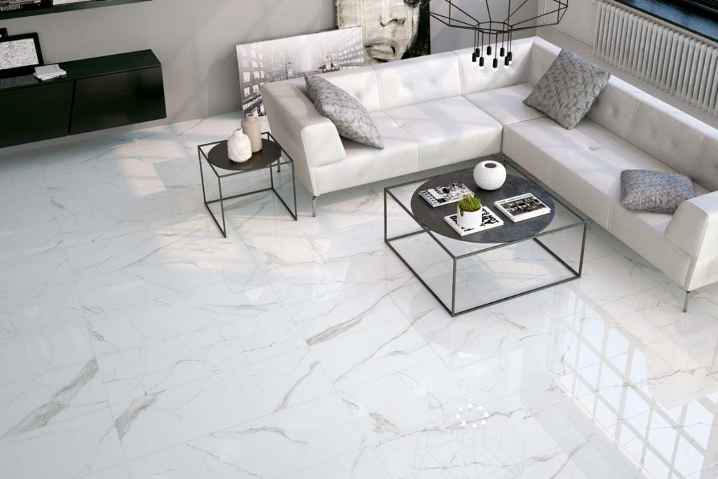 Living room marble effect tiles.
