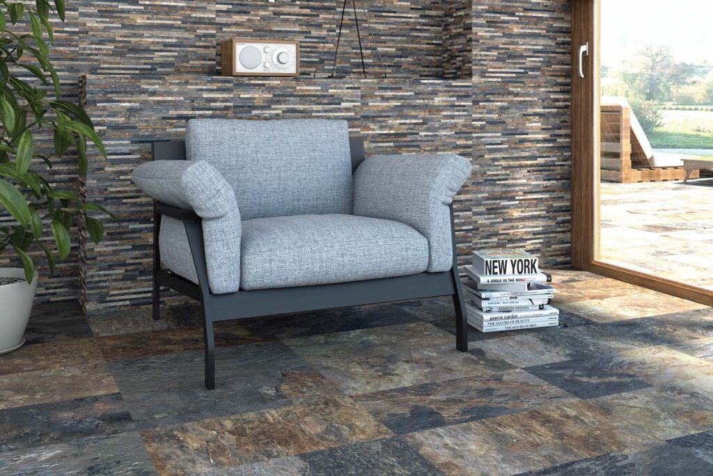 Living room stone effect tiles with textured decor.