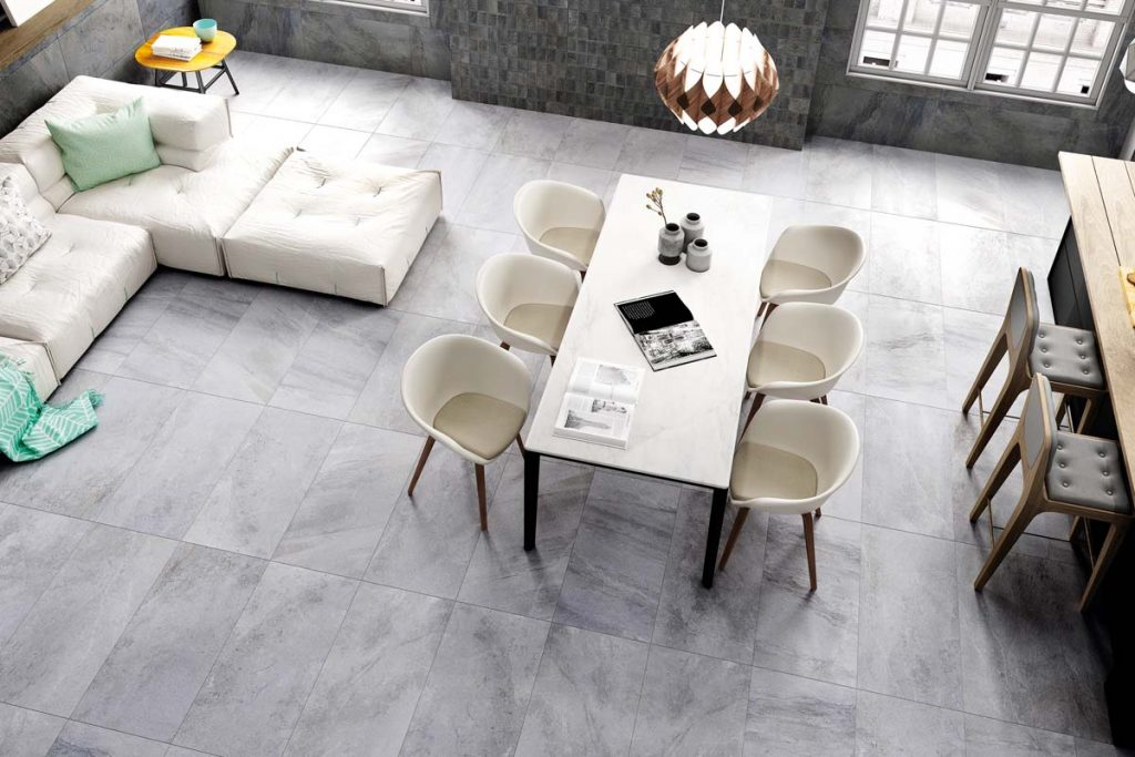 Living room grey stone effect tiles.