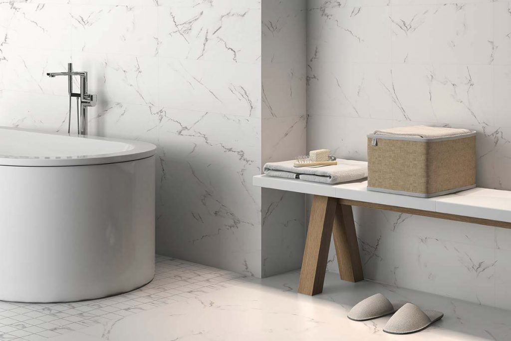 Marble effect tiles in bathroom.