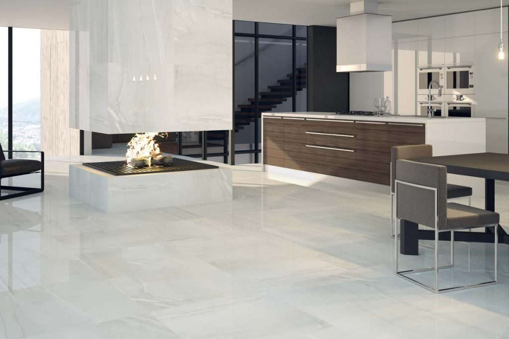 Marble effect wall and floor tiles in front room.
