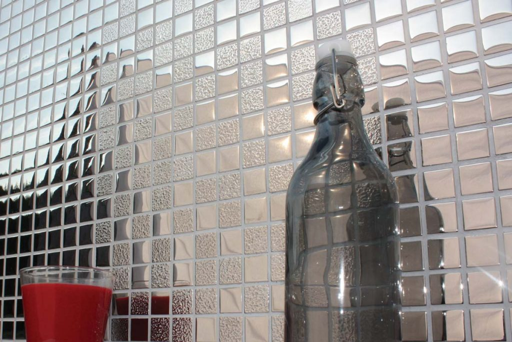 Mosaic square glass metallic tiles in silver.