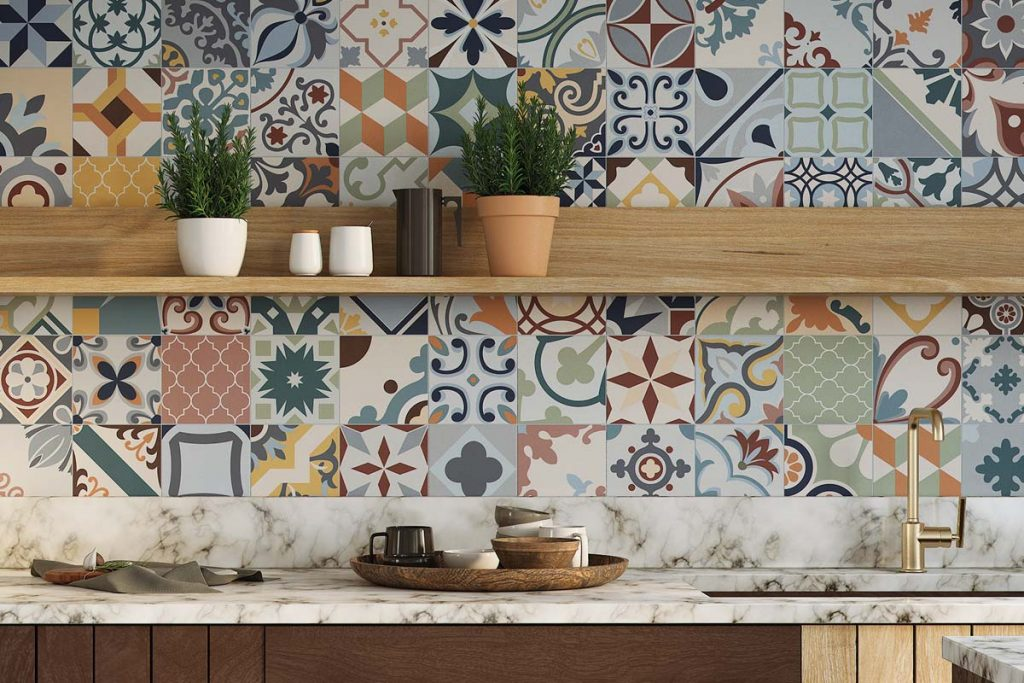 Glazed Porcelain tiles. Stunning pattern tiles in bold shades of multicolours. Displayed here in a kitchen.
