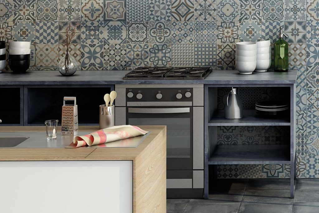 Glazed Porcelain taco tiles. Stunning pattern tiles in colourful pastel shades. Displayed here in a kitchen.