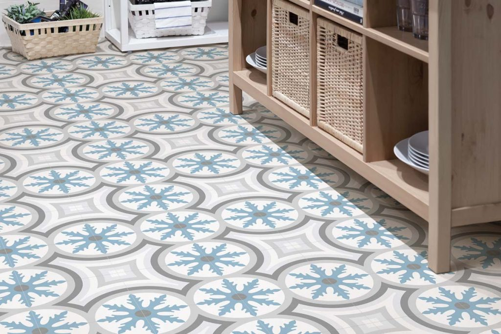 Glazed Porcelain tiles. Stunning pattern tiles in pastel shades which can be used alone or along side plain tiles to create an eye catching design. Displayed here in a hallway.
