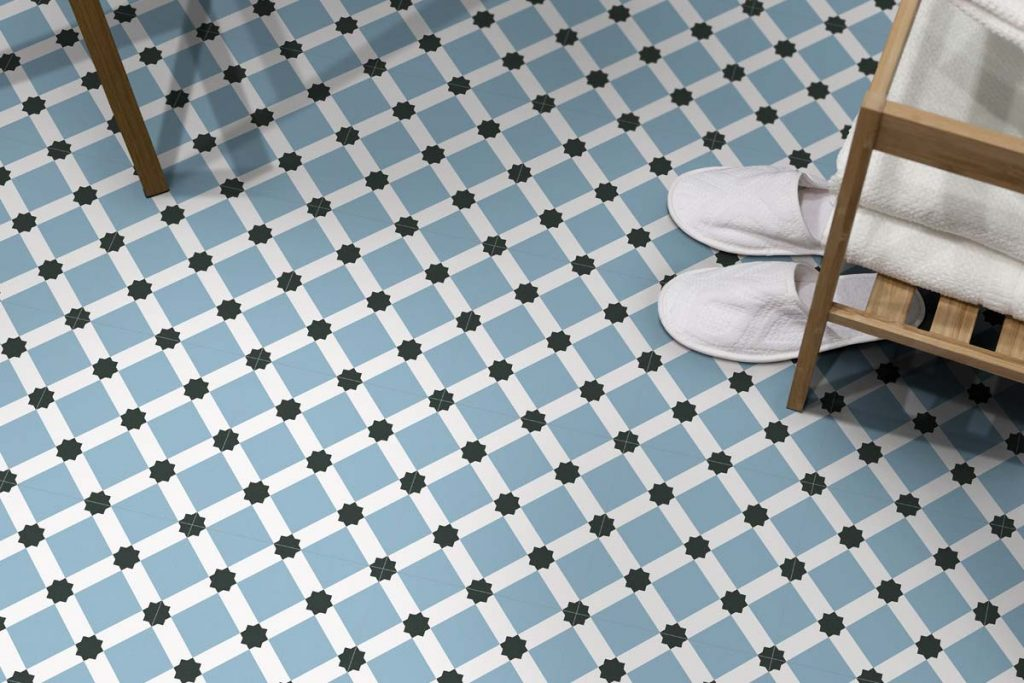 Glazed Porcelain tiles. Stunning pattern tiles in pastel shades which can be used alone or along side plain tiles to create an eye catching design. Displayed here in a bathroom.