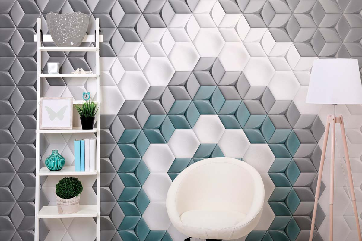 Glazed ceramic hexagon shaped tiles with a 3D hexagon decor. Pastel shades of green, grey and white. Displayed here in a front room.