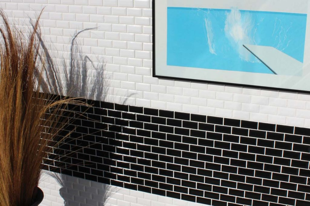 Black and white rectangle ceramic mosaics. Displayed here in a hallway.