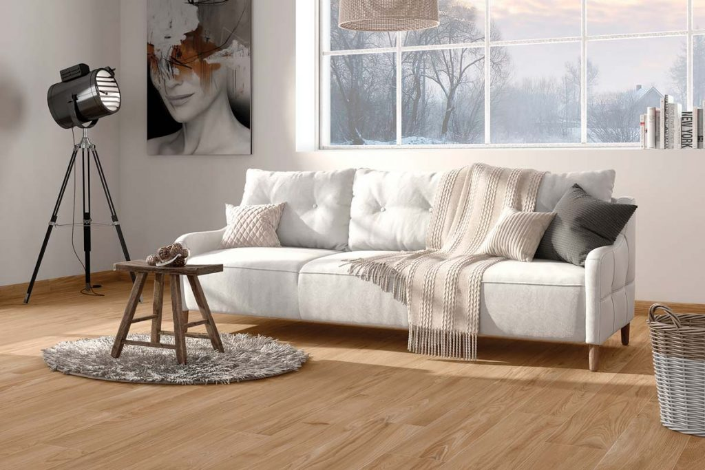 Glazed Porcelain wood effect tiles in a rich brown. Displayed in a living room.