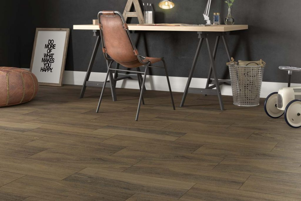 Glazed Ceramic wood effect tiles in a dark brown. Displayed in an office.